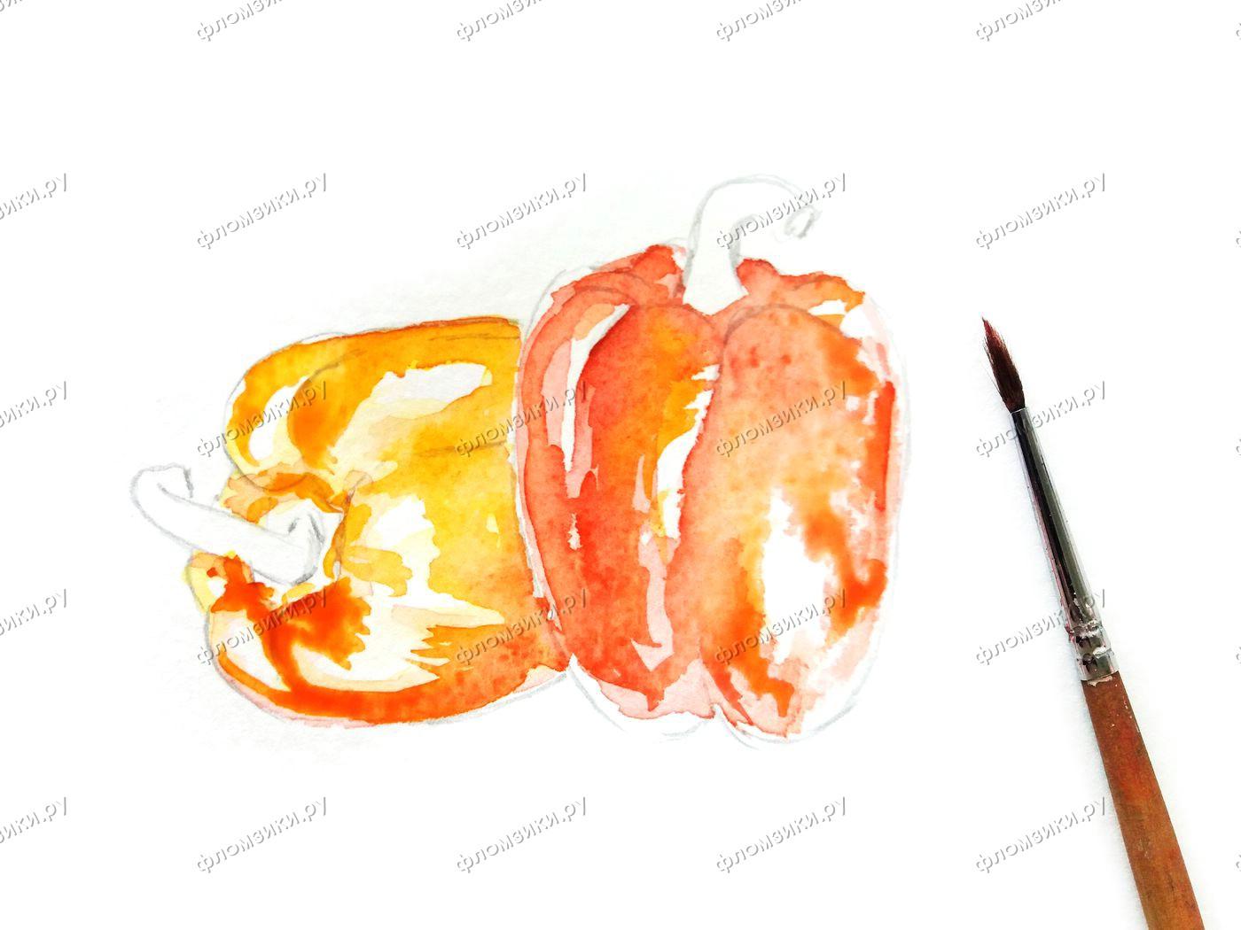 Как нарисовать болгарский перец поэтапно