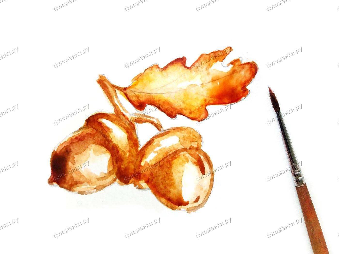 Как нарисовать желуди поэтапно