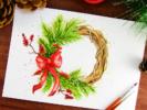 kak-narisovat-rozhdestvenskij-venok-akvarelyu-miniatyura