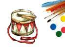 Как нарисовать барабан с палочками поэтапно