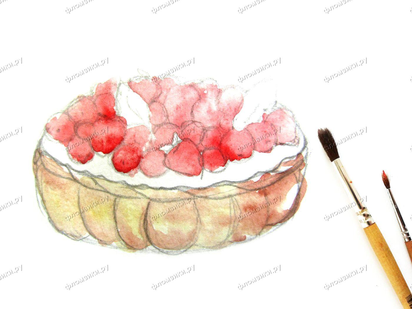 Как нарисовать пирог поэтапно
