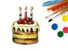 Как нарисовать торт на День Рождения