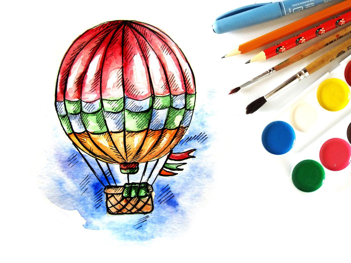 Как нарисовать воздушный шар с корзиной поэтапно