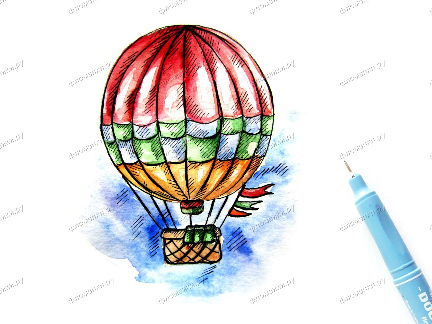 Как нарисовать воздушный шар с корзиной