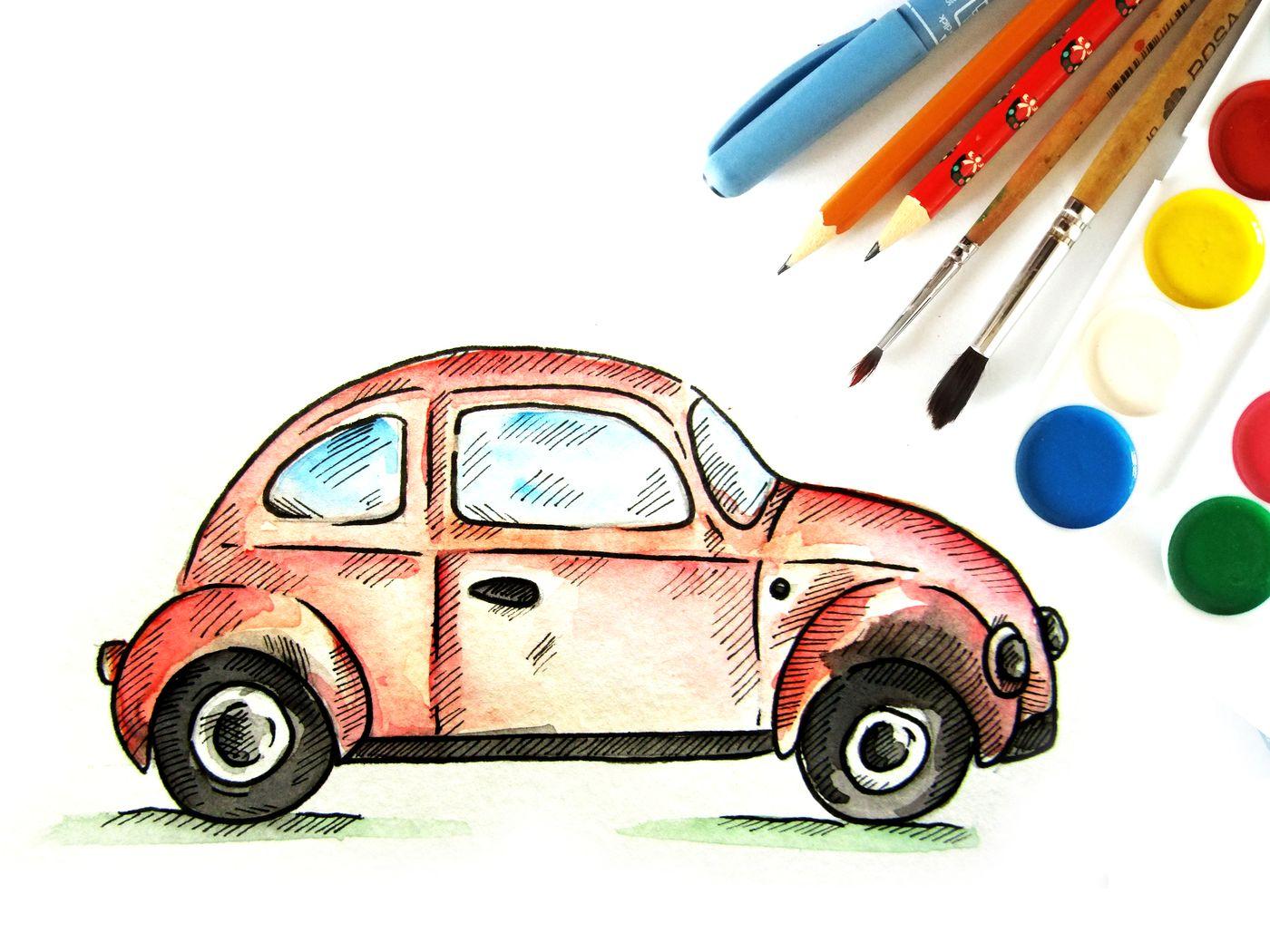 Как нарисовать машинку ребёнку
