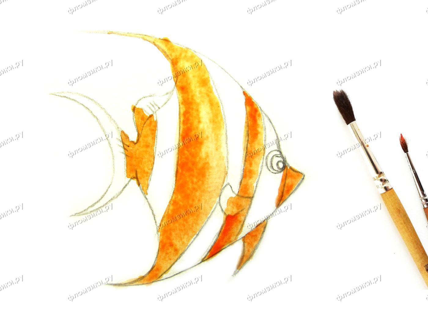 Как нарисовать рыбку Скалярию