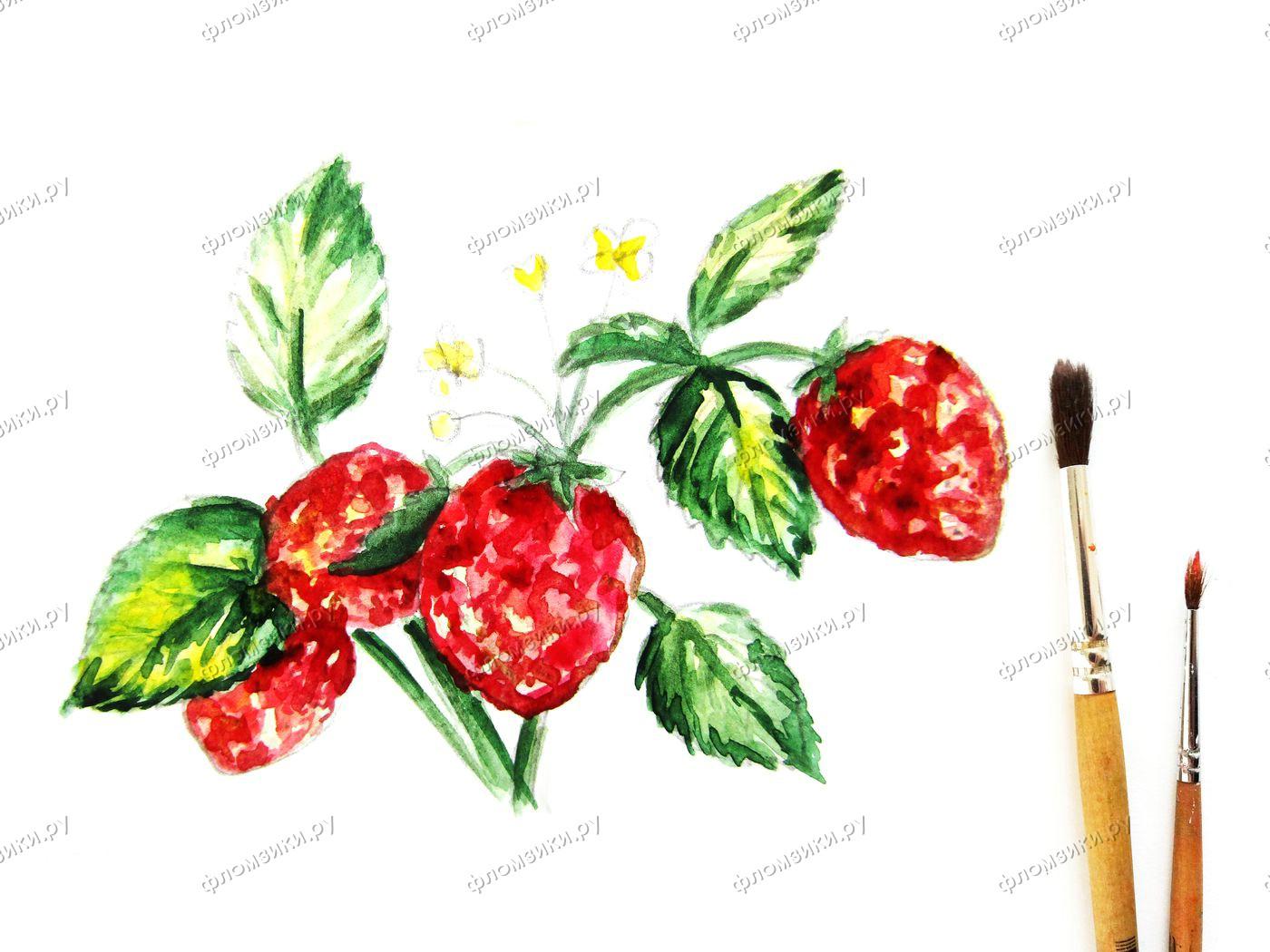Как нарисовать клубнику акварелью