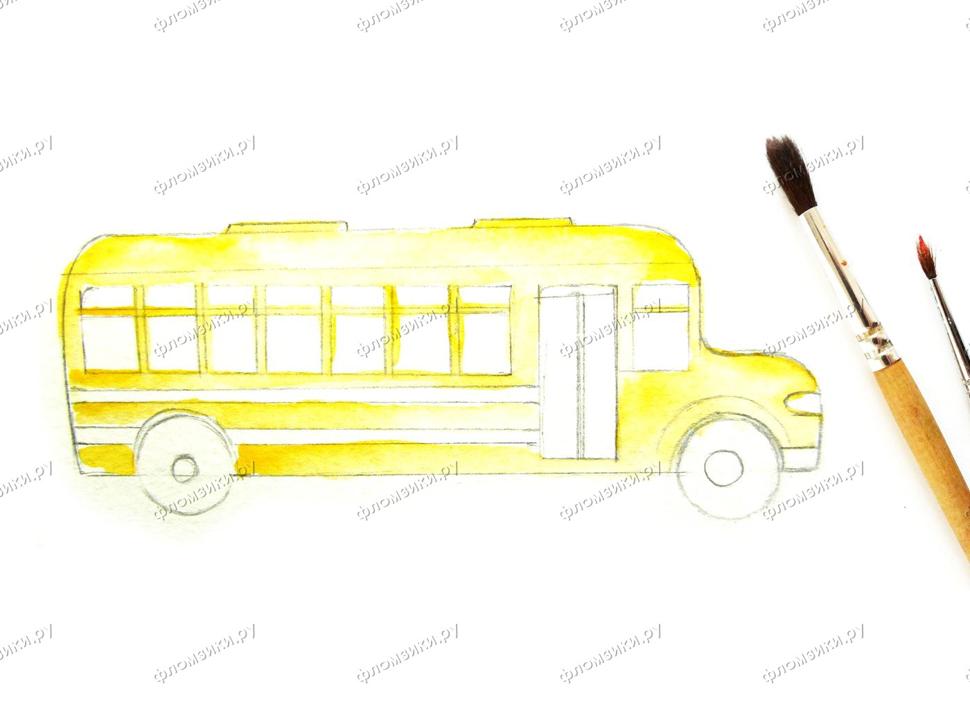 Как нарисовать автобус