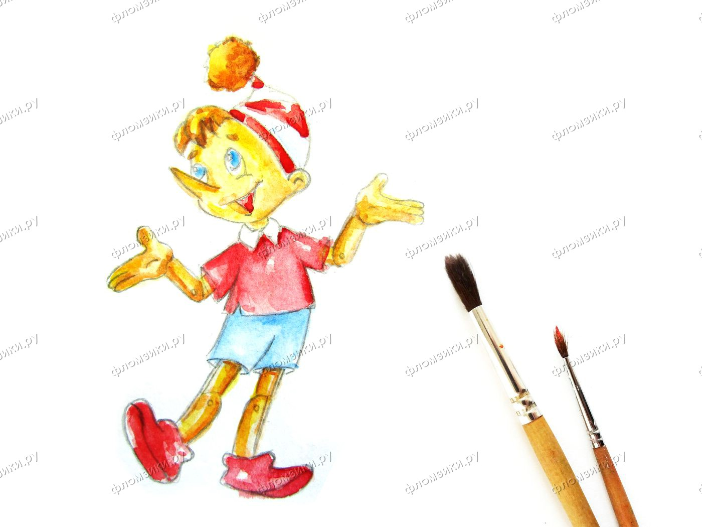 Как нарисовать Буратино