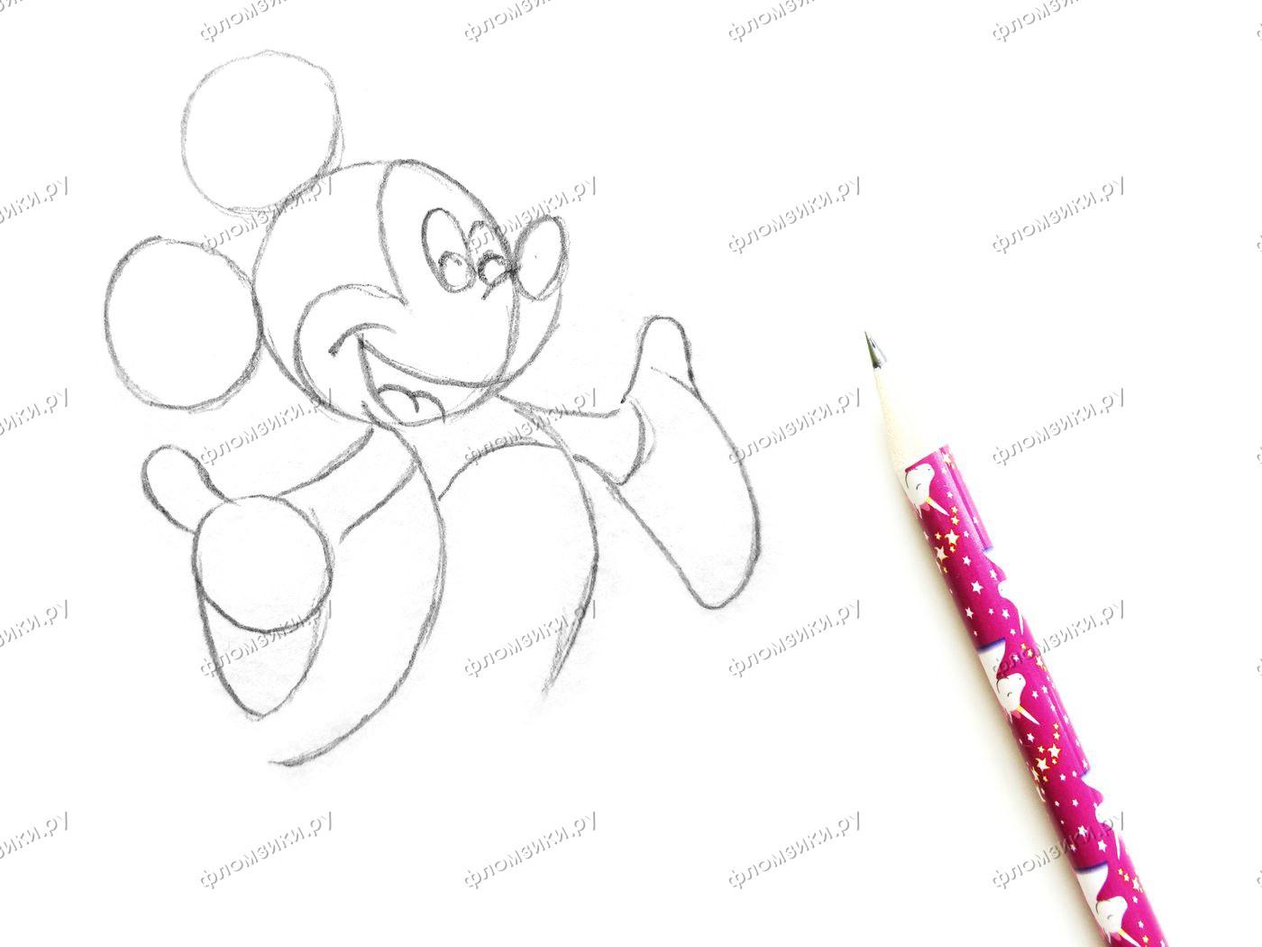 Как нарисовать Микки Мауса