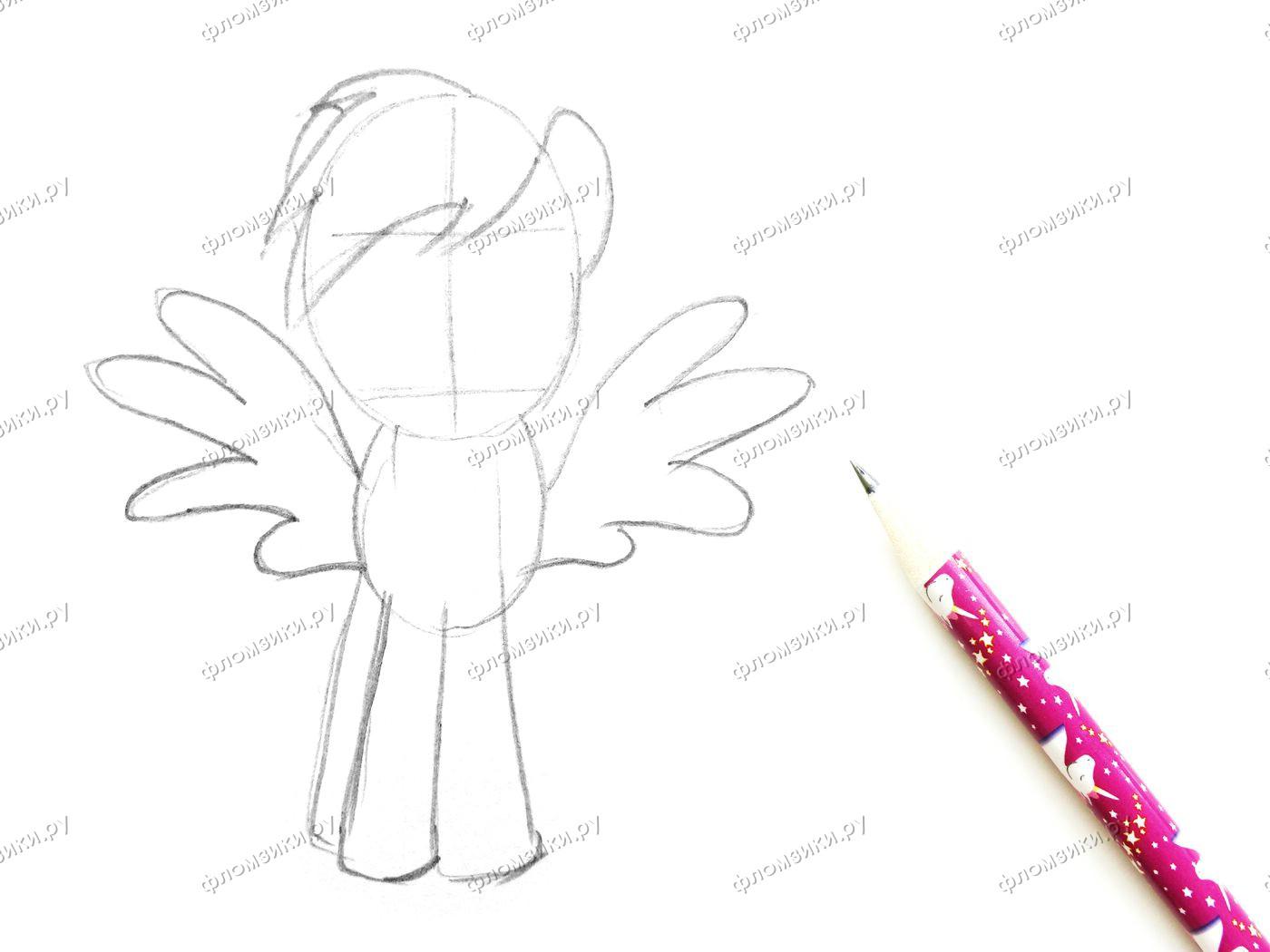 Как нарисовать пони Радуга Дэш