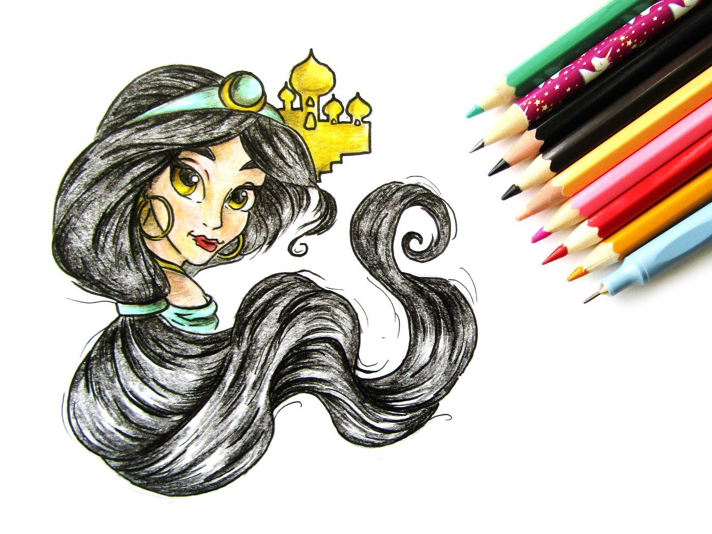 Как нарисовать принцессу Жасмин из мультфильма Алладин ...