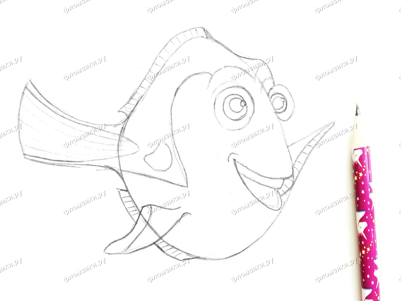 Как нарисовать рыбку Дори
